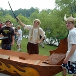 The Viking boat and crew
